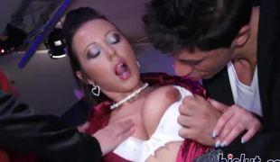 Lewd playgirls enjoy sucking on big dicks
