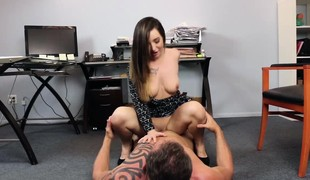 Bambi Brooks sucks and gags her Dads large cock