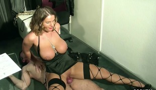 German MILF with Monster Natural Scoops Seduce to Fuck on Work