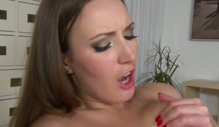 Brunette Angelica Wild asks James Brossman to put in his worm in her mouth