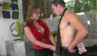 Hawt mama with massive tits Eva Notty in foreplay with lewd guy