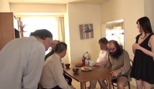 Dirty old dudes lick and finger a Japanese girl after breakfast