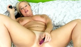 Vibrating toys excite her hot milf pussy