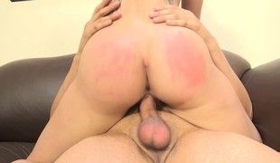 Sexually excited babe with fabulous big breasts Cali Marie enjoys a hard fucking