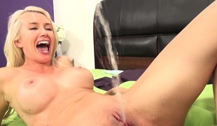 Stacked blonde Gigi Allen bonks a furious rod and releases her juices