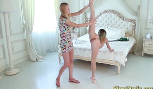 Cute real flexible skinny legal age teenager doll gets bizarre stretched by her girlfriend