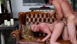 Brutal hubby copulates leggy petite wifey Nicole Clitman on leather bed tough
