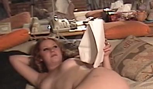 Aged plump geek copulates spoield red haired GF Cherry Poppens in sofa