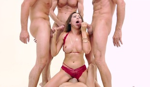 Crazy bukakke and blowbang for nasty hottie Melissa Moore