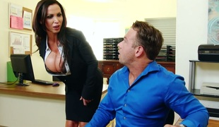 Fucking hot breasty office slut Nikki Benz seduces new employee and gets fucked on his table