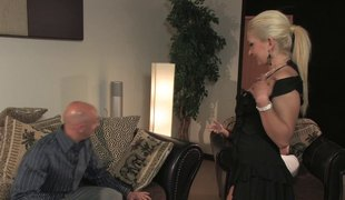 Aged blonde chick bows over for a randy man's throbbing cock