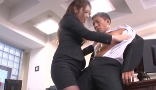Nice-looking Oriental secretary Ayu Sakurai pleases her impressive boss