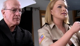 Sexy blond babe officer Krissy gets banged