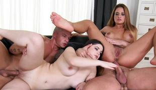 European honeys Nicole Vice and Nana rammed deep in the sexy snatches by big cocks