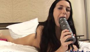 Naughty bitch masturbates with a biggest dildo