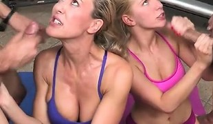 Blonde Harlots Get Drilled And Jizzed On