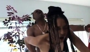 Sexy slim ebony housewife seduces and fucks the hung black electrician