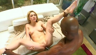 Golden-haired shows her blowjob talents