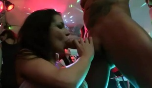 Ladies worship stripper cock when given the chance