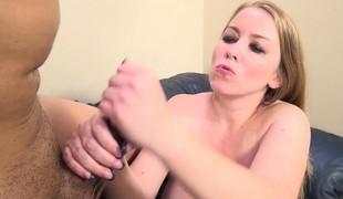 blonde milf store pupper handjob
