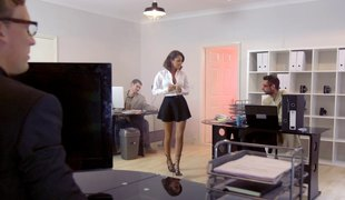 Stylish in nylon stockings acquire banged doggystyle getting her groan noisily in a reality shoot