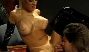 Blonde honey in latex sucks him off and gets licked out before fucking