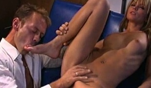 Reverse cowgirl with a golden-haired chick after blowing him off