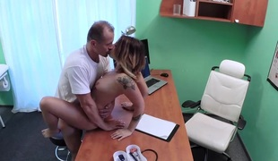 Patient Orgasms Bawdy cleft Juice on Desk