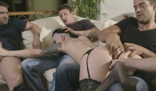 Tattooed doxy wife Rachael Madori is drilled by cuckold husband and his allies