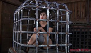 Hawt babe in a cage endures all sorts of love toys betwixt her legs