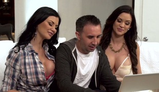 Brunette MILF Jasmine Jae shares horny man with some other bitch