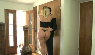 Desirable golden-haired bitch Kagney Lynn Karter drilled hard in ottoman