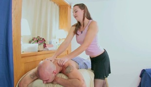 Salacious masseuse Sheila banged hard by her shaved client