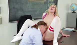 A hardcore chick with a priceless love tunnel is screwed in the classroom