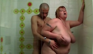 Naughty BBW fucked in the shower