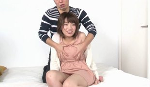 Lustily caressed Japanese angel fucked hard and covered in cum
