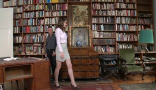 Nadia gives a steamy oral stimulation previous to getting dicked  coarse in the library