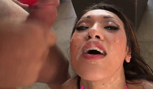 Blowjob queen Jayden Lee does her magic unfathomable throat on 3 rods