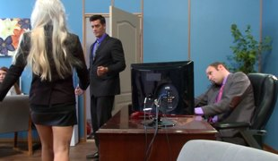 Bleach blond secretary with a giant back tattoo fucked at work