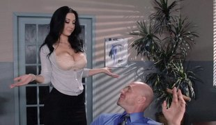 Cardigan and petticoat babe fucks an employee at work