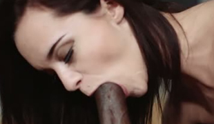 Dark haired miniature GF Lea Guerlin sucks BBC and then gets nailed tough