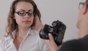 Nerdy photo-lover acquires fucked