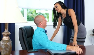 Sassy darksome secretary Julie Kay gets screwed hard by her boss