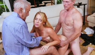 Breathtaking blonde bimbo Raylin Ann copulates three old farts