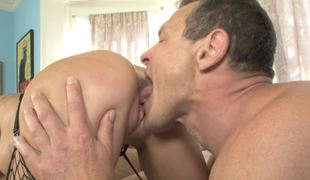 Hot golden-haired is getting fucked by a father and his son in a threesome