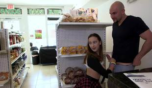 Lucky shaved guy fucks a marvelous teenage girl in the mini market