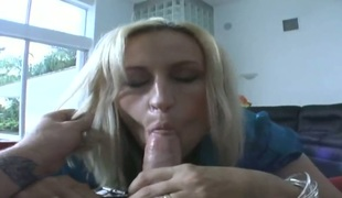 Blonde acquires a mouthful of boner in oral-sex action with sexy fellow
