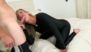 Levi is on the bed with a sexy milf. The golden-haired pornstars is trying to sell him a boat, so she is doing the best she can to sweeten the deal. Check her out.