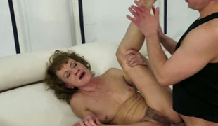 Ugly granny with bushy love tunnel is fucked bad in her arse hole