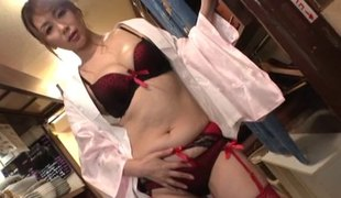 Alluring hottie from Asia makes a real show of her masturbation session